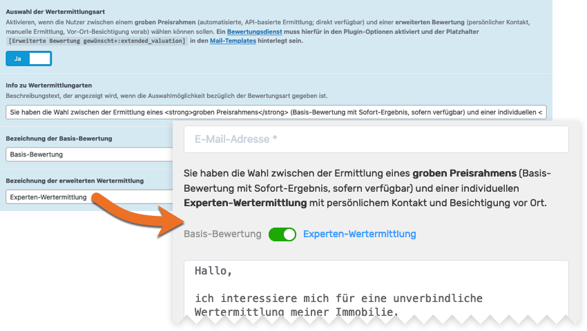 Screenshot Option Auswahl der Wertermittlungsart im WordPress-Backend